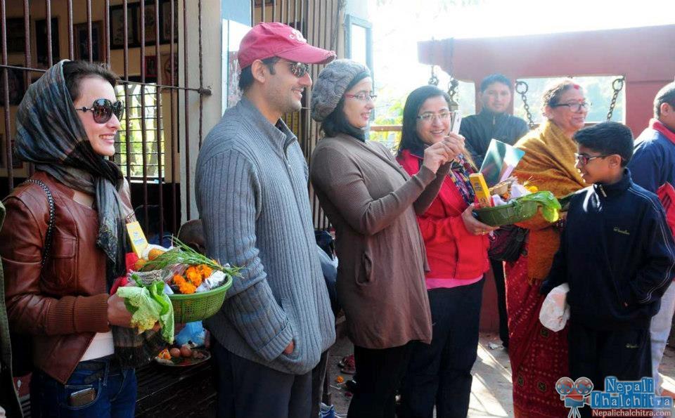 Namrata Shrestha with Siddhartha Koirala and Manisha Koirala