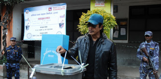Rajesh Hamal voting yesterday Nepal